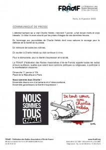 Communiqué FRAdIF manifestation en soutien à Charlie Hebdo 9 janvier 2015